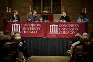 The Rev. Dr. Matthew C. Harrison, president of the LCMS, speaks during The Reformation at 500: An Interdenominational Conversation, on Monday, Oct. 30, 2017, at Chapel of Our Lord at Concordia University Chicago in River Forest, Ill. Other featured presenters were Cardinal Blase J. Cupich, Archdiocese of Chicago, and the Rev. Dr. Philip Ryken, president of Wheaton College. The moderator was Manya Brachear Pashman, religion correspondent for the Chicago Tribune. LCMS Communications/Erik M. Lunsford
