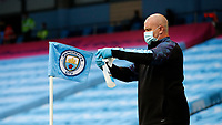Football - 2019 / 2020 Premier League - Manchester City vs. Burnley<br /> <br /> Corner flag disinfected at the Etihad Stadium. <br /> <br /> <br /> COLORSPORT/LYNNE CAMERON