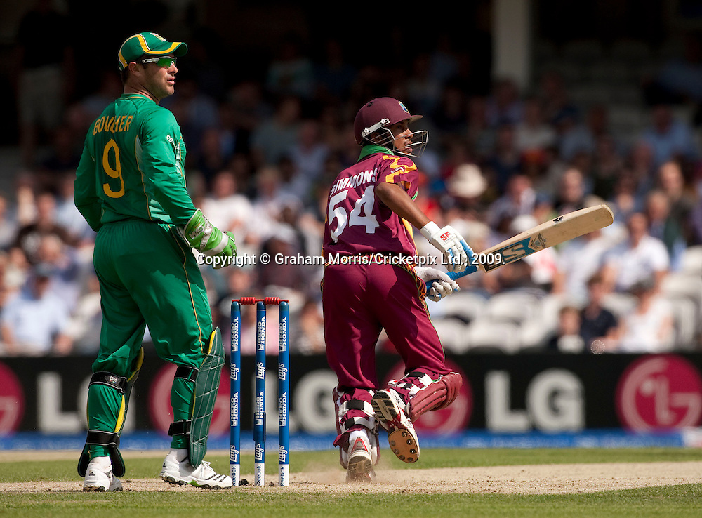 Lendl Simmons bats during the ICC World Twenty20 Cup match between South Africa and West Indies at the Oval. Photo © Graham Morris (Tel: +44(0)20 8969 4192 Email: sales@cricketpix.com)