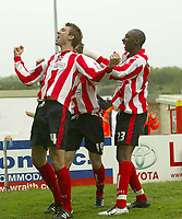 Photo: Aidan Ellis.<br /> Lincoln City v Rochdale. Coca Cola League 2. 06/05/2006.<br /> Lincoln's Gareth McAuley celebrates his goal
