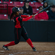 02 March 2018: San Diego State softball hosts Minnesota on day two of the San Diego Classic I at Aztec Softball Stadium. San Diego State first baseman Taylor Adams (99) hits a two out rbi double in the bottom of the third inning to tie the game at 2-2. The Aztecs beat the #21/20 Gophers 6-2.<br /> More game action at sdsuaztecphotos.com