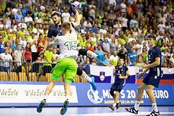 Tadej Mazej of Slovenia during handball match between National teams of France and Slovenia in Final of 2018 EHF U20 Men's European Championship, on July 29, 2018 in Arena Zlatorog, Celje, Slovenia. Photo by Urban Urbanc / Sportida