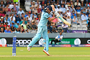 Wicket - Jonny Bairstow of England is bowled by Lockie Ferguson of New Zealand as the ball just hits the top of the stumps during the ICC Cricket World Cup 2019 Final match between New Zealand and England at Lord's Cricket Ground, St John's Wood, United Kingdom on 14 July 2019.