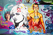 Pop artist Keith Haring, actor Sylvester Stallone and a Brigitte Bardot look-alike dominate this mural in Miami's Wynwood arts district