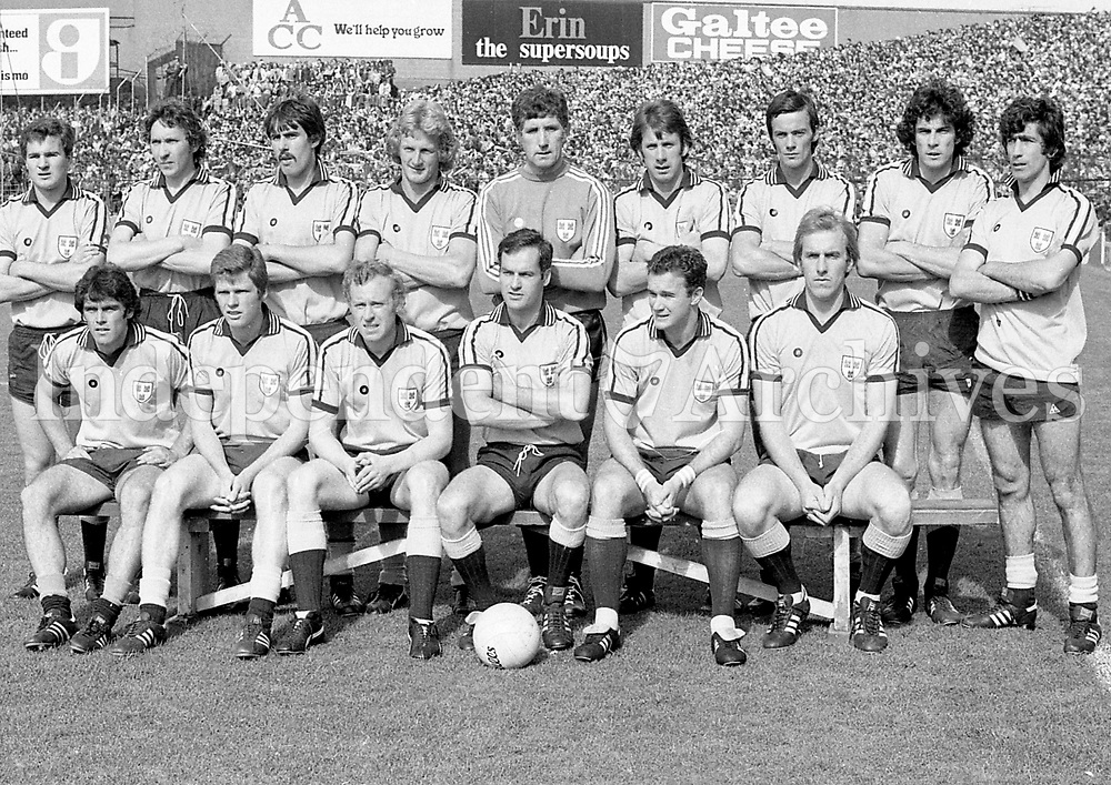 The Dublin team defeated by Kerry in the 1979 All-Ireland final at Croke Park.<br /> <br /> Back row, left to right: Michael Hickey, Anton O&rsquo;Toole, David Foran, Mick Holden (RIP), Paddy Cullen, Mick Kennedy, John McCarthy, Bernard Brogan, Bobby Doyle.<br /> <br /> Front row, left to right: Fran Ryder, Tommy Drumm, Pat O&rsquo;Neill, Tony Hanahoe, David Hickey, Brian Mullins.(Part of the Independent Newspapers Ireland/NLI collection.)