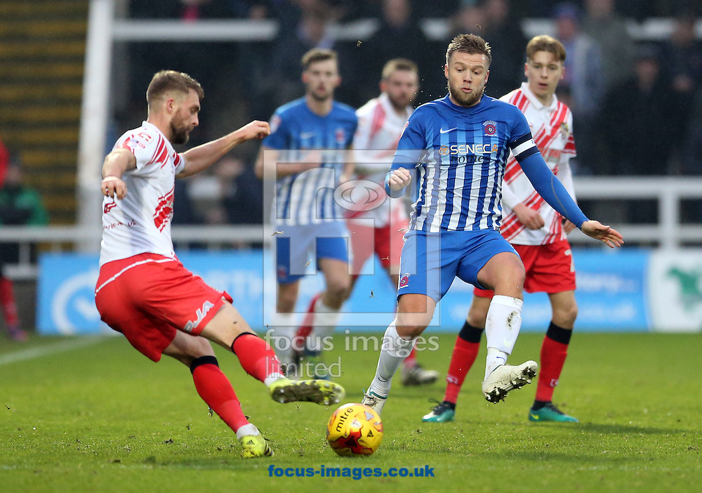 Nicky Featherstone (r) of Hartlepool United and Fraser Franks (l) of Stevenage during the Sky Bet League 2 match at Victoria Park, Hartlepool<br /> Picture by Simon Moore/Focus Images Ltd 07807 671782<br /> 21/01/2017