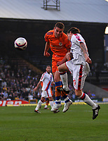 Photo: Tony Oudot/Richard Lane Photography. Crystal Palace v Reading. Coca-Cola Football League Championship. 21/03/2009. <br /> Chris Armstrong of Reading heads the ball challenged by John Oster of Palace
