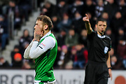 Missed chance for Martin Boyle during the William Hill Scottish Cup 4th round match between Heart of Midlothian and Hibernian at Tynecastle Stadium, Gorgie, Scotland on 21 January 2018. Photo by Kevin Murray.