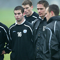 St Johnstone Training...02.12.03<br />Simon Donnelly, Peter MacDonald, Darren Dods, Paul Bernard, Ian Maxwell and Mark Robertson listen to manager Billy Stark during training this morning before tomorrow's CIS cup clash with Rangers.<br />see story by Gordon Bannerman Tel: 01738 553978<br />Picture by Graeme Hart.<br />Copyright Perthshire Picture Agency<br />Tel: 01738 623350  Mobile: 07990 594431