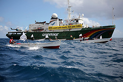 MAURITIUS 5MAY13 - A flotilla of small artisanal fishermen in their boats accompanies the Greenpeace ship Esperanza on its way to Grand Baie in Mauritius.<br /> <br /> <br /> <br /> The Greenpeace ship Esperanza delivered its message to the IOTC delegates highlighting the concerns of unsustainable fishing practices in the Indian Ocean.<br /> <br /> <br /> <br /> jre/Photo by Jiri Rezac / Greenpeace
