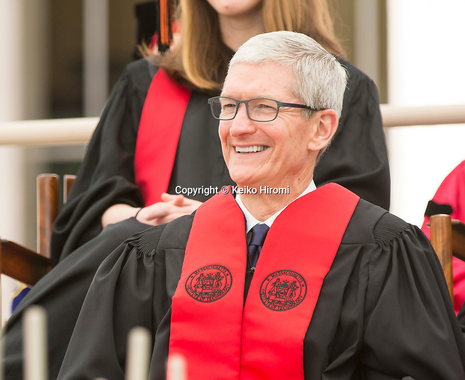 June 9, 2017,  Massachusetts Institute of Technology, Cambridge, Massachusetts: Apple CEO Tim at Commencement Exercises at Massachusetts Institute of Technology  in Cambridge.