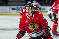 KELOWNA, BC - MARCH 03: Reece Newkirk #12 of the Portland Winterhawks warms up against the Kelowna Rockets  at Prospera Place on March 3, 2019 in Kelowna, Canada. (Photo by Marissa Baecker/Getty Images)