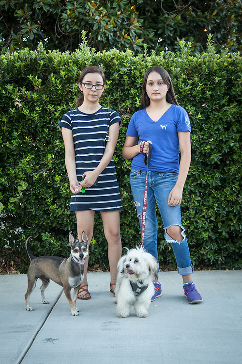 Susana Tovar and Erendira Sanchanz with Their dogs, Lucky and Fez in Calistoga