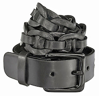 chain link black leather belt