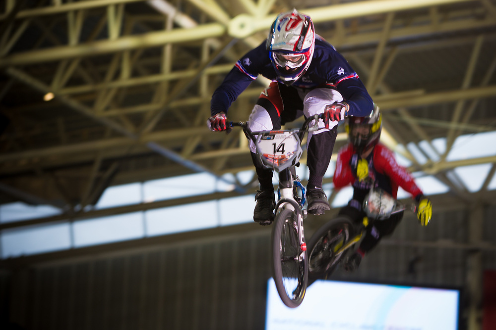 #14 (CALEYRON Quentin) FRA at the 2014 UCI BMX Supercross World Cup in Manchester.