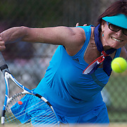 Kim Blackburne, Australia, in action in the 65 Womens Singles  during the 2009 ITF Super-Seniors World Team and Individual Championships at Perth, Western Australia, between 2-15th November, 2009.