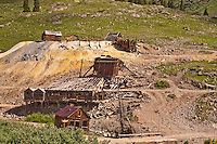 The old historic Columbus Mine and Mill at the ghost town of Animas Forks.  Built in 1880, the mill ceased operations in 1948. San Juan Mountains, Colorado.