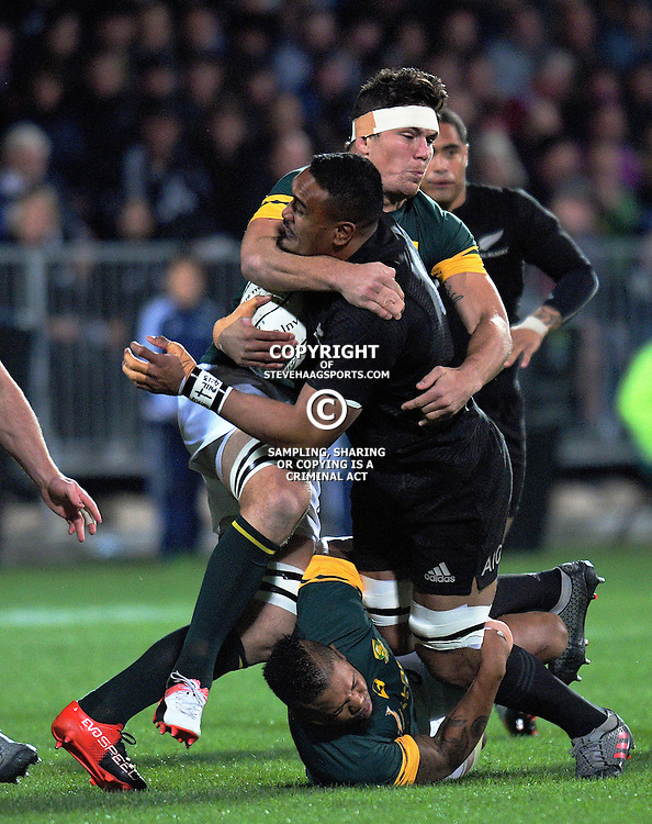 Jerome Kaino is tackled during The Rugby Championship match between the NZ All Blacks and South Africa Springboks at AMI Stadium in Christchurch, New Zealand on Saturday, 17 September 2016. Photo: Dave Lintott / lintottphoto.co.nz