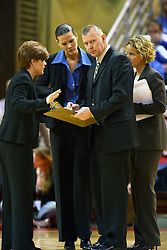 12 March 2005<br /> <br /> Sycamore Head Coach Jim Wiedie and his assistance discuss strategy during a time out.<br /> <br /> 8th seed and Tournament Host, Illinois State University Redbirds, played spoiler and best the #1, #2 & #4 ranked teams to win the Missouri Valley Confernce Hoops in the Heartland Tournament.  In the final game today, the Redbirds bested the #2 seeded Indiana State University Sycamores by 2 points with a .8 second to go buzzer beater jump shot from the middle of the lane.  The Redbirds get an automatic birth to the NCAA Tournament. The Redbirds last played in the NCAA Tournament in 1989.  Hoops in the Heartland was held at Redbird Arena, Illinois State University, Normal IL