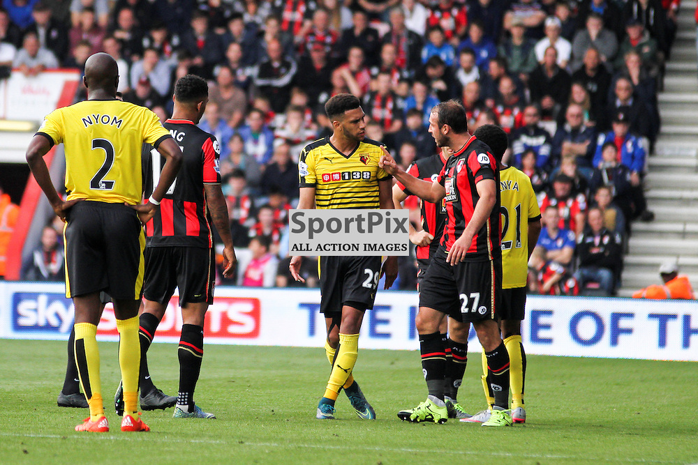 Etienne Capoue and Glenn Murray have an altercation During Bournemouth vs Watford on Saturday 3rd of October 2015.