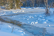Ice along a creek in winter. Muskoka Country.<br />Near Port Carling<br />Ontario<br />Canada