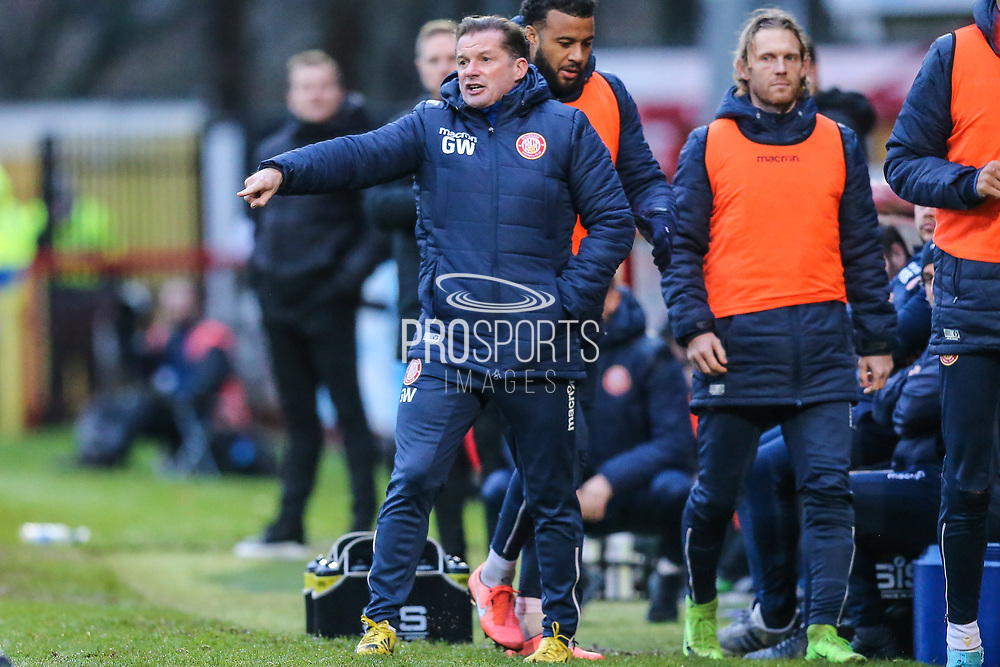 Stevenage manager Graham Westley shouts instructions during the EFL Sky Bet League 2 match between Stevenage and Forest Green Rovers at the Lamex Stadium, Stevenage, England on 26 December 2019.