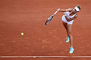 Paris, France - 2017 June 04: Magda Linette from Poland serves during her women's single match third round during tennis Grand Slam tournament The French Open 2017 (also called Roland Garros) at Stade Roland Garros on June 04, 2017 in Paris, France.<br /> <br /> Mandatory credit:<br /> Photo by © Adam Nurkiewicz<br /> <br /> Adam Nurkiewicz declares that he has no rights to the image of people at the photographs of his authorship.<br /> <br /> Picture also available in RAW (NEF) or TIFF format on special request.<br /> <br /> Any editorial, commercial or promotional use requires written permission from the author of image.