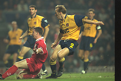 Liverpool, England - Wednesday, November 27th, 1996: Liverpool's Robbie Fowler scores his second goal during the 4-2 victory over Arsenal during the 4th Round of the League Cup at Anfield. (Pic by David Rawcliffe/Propaganda)
