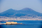 View of the bay of Naples and Mt. Vesuvius.