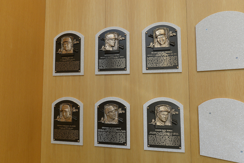 COOPERSTOWN, NY - JULY 28:  A general view of the freshly installed HOF plaques featuring the 2014 Hall of Fame inductees on display at the Baseball Hall of Fame and Museum in Cooperstown, New York on July 28 2014.