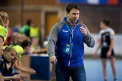 Uros Bregar, head coach of RK Krim Mercator during handball match between RK Krim Mercator and Rostov-Don in Main Round of Women's EHF Champions League 2017/18, on March 3, 2018 in Sports hall Kodeljevo, Ljubljana, Slovenia. Photo by Urban Urbanc / Sportida