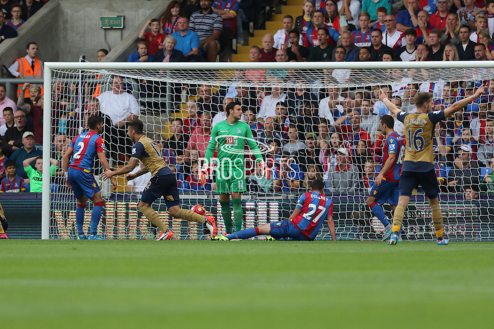 Olivier Giroud of Arsenal celebrates Arsenals second goal during the Barclays Premier League match between Crystal Palace and Arsenal at Selhurst Park, London, England on 16 August 2015. Photo by Ellie Hoad.