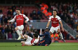 Sokratis Papastathopoulos of Arsenal tackles Mouctar Diakhaby of Valencia - Mandatory by-line: Arron Gent/JMP - 02/05/2019 - FOOTBALL - Emirates Stadium - London, England - Arsenal v Valencia - UEFA Europa League Semi-Final 1st Leg