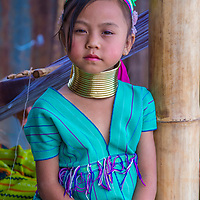 KAYAN STATE , MYANMAR - SEP 09 : Portrait of Kayan tribe girl in Kayan state Myanmar on September 09 2017 , Kayan tribe woman are well known for wearing neck rings.