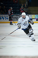 KELOWNA, CANADA - NOVEMBER 20: Matthew Campese #15 of the Victoria Royals skates on the ice during warm up at the Kelowna Rockets on November 20, 2013 at Prospera Place in Kelowna, British Columbia, Canada.   (Photo by Marissa Baecker/Shoot the Breeze)  ***  Local Caption  ***