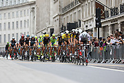 The peloton on Regent Street during the London Stage of the Aviva Tour of Britain, Regent Street, London, United Kingdom on 13 September 2015. Photo by Ellie Hoad.