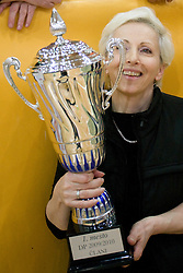 Ivanka Mihelcic of ACH with a Trophy at final match of Slovenian National Volleyball Championships between ACH Volley Bled and Salonit Anhovo, on April 24, 2010, in Radovljica, Slovenia. ACH Volley defeated Salonit 3rd time in 3 Rounds and became Slovenian National Champion.  (Photo by Vid Ponikvar / Sportida)