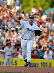 May 23, 2007; Trenton, NJ, USA;  Roger Clemens (22) throws to first during his start for the Trenton Thunder (New York Yankees Double-A affiliate) during their Eastern League game against the Portland Sea Dogs at Waterfront Park in Trenton, NJ.