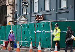 © Licensed to London News Pictures. 20/03/2018. Salisbury, UK. Zizzi's Italian restaurant remains cordoned off as police continue their investigation after former Russian spy Sergei Skripal and his daughter Yulia were poisoned with nerve agent. The couple where found unconscious on bench in Salisbury shopping centre. A policeman who went to their aid is currently recovering in hospital. Photo credit: Peter Macdiarmid/LNP