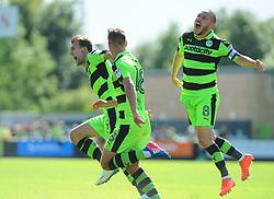 Christian Doidge of Forest Green Rovers celebrates his goal - Mandatory by-line: Nizaam Jones/JMP - 05/08/2017 - FOOTBALL - New Lawn Stadium - Nailsworth, England - Forest Green Rovers v Barnet - Sky Bet League Two