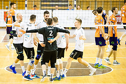 Players of Calcit Volley celebrate during 3rd Leg volleyball match between ACH Volley and OK Calcit Volley in Final of 1. DOL Slovenian National Championship 2017/18, on April 24, 2018 in Hala Tivoli, Ljubljana, Slovenia. Photo by Matic Klansek Velej / Sportida