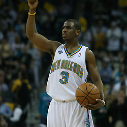 15 April 2008: New Orleans Hornets guard Chris Paul #3 signals a play as he dribbles down court in the second half of the Hornets 114-92 Southwestern Division clinching victory over the Clippers at the New Orleans Arena in New Orleans, Louisiana.
