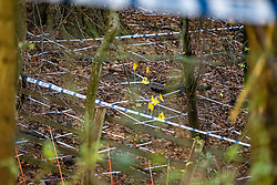 "© Licensed to London News Pictures. 10/12/2019. Gerrards Cross, UK. Police tape and evidence identification markers on woodland floor as the Metropolitan Police Service continues a search operation in Gerrards Cross, Buckinghamshire. Police have been in the area conducting operations on Hedgerley Lane since Thursday 5th December 2019. In a press statement issued on 7th December a Metropolitan Police spokesperson said ""Officers are currently in the Gerrards Cross area of Buckinghamshire as part of an ongoing investigation.<br /> ""We are not prepared to discuss further for operational reasons."" No further updates have been issued as of 10th December. Photo credit: Peter Manning/LNP"