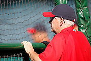 ANAHEIM, CA - JUNE 06:  Batting coach Jim Eppard (80) of the Los Angeles Angels of Anaheim watches batting practice before the game against the Seattle Mariners on Wednesday, June 6, 2012 at Angel Stadium in Anaheim, California. The Mariners won the game 8-6. (Photo by Paul Spinelli/MLB Photos via Getty Images) *** Local Caption *** Jim Eppard