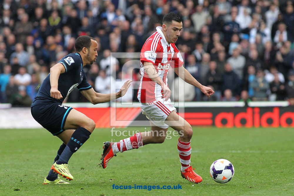 Oussama Assaidi of Stoke City and Andros Townsend of Tottenham Hotspur in action during the Barclays Premier League match at the Britannia Stadium, Stoke-on-Trent.<br /> Picture by Michael Sedgwick/Focus Images Ltd +44 7900 363072<br /> 26/04/2014