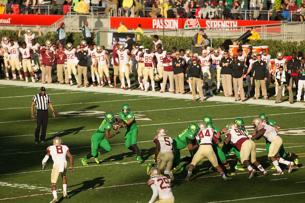 Marcus Mariota, Quarterback, University of Oregon. Photographed at the 2015 Rose Bowl Game in Pasadena, California, on January 1, 2015. (Photograph ©2015 Darren Carroll)