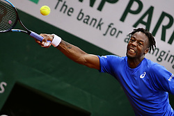 May 30, 2019 - Paris, France - France's Gael Monfils plays a return to France's Adrian Mannarino during their men's singles second round match on day five of The Roland Garros 2019 French Open tennis tournament in Paris on May 30, 2019. (Credit Image: © Ibrahim Ezzat/NurPhoto via ZUMA Press)