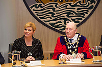 05/04/2017 Repro free: <br />  President of the Republic of Croatia, Mrs Kolinda Grabar-Kitarović, as part of the official State visit to Ireland. The President&rsquo;s visit to Galway is particularly celebratory as the city which, together with Rijeka, was designated the European Capital of Culture 2020. There was a civic reception in City Hall  where she met the council  and City Mayor Cllr Noel Larkin.<br /> <br />  . Photo:Andrew Downes, xposure