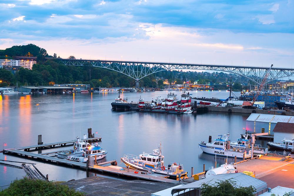Seattle, Washington, United States - July 13, 2012: Police enforcement boats at Marina in Lake Union.