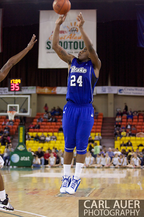 November 27th, 2010:  Anchorage, Alaska - Drake Bulldog Rayvonte Rice (24) attempts a three point shot in the Bulldog 81-82 loss to Weber State in the third place game of the Great Alaska Shootout.